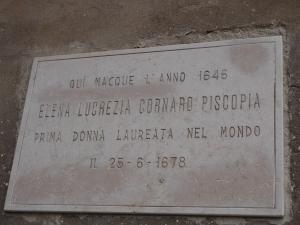 Elena Cornaro commemorative plaque