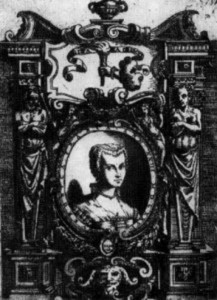 Engraving of Veronica, on the frontispiece of her publication