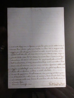Replica of C's spy report about his acquaintance Michiel dall'Agata and the play Coriolanus at the Teatro San Benedetto